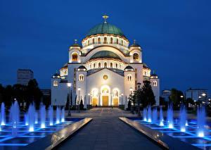Images Church Fountains Religion Belgrade Serbia Night Street lights Domes Cross Temple Of Saint Sava