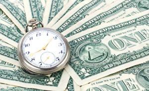 Papel de Parede Desktop Relógio Dinheiro Papel-moeda Dollars Relógio de bolso