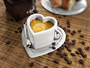 Pictures Coffee Cappuccino Cup Heart Grain Spoon Food