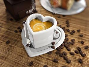 Bilder Kaffee Cappuccino Tasse Herz Getreide Löffel Lebensmittel