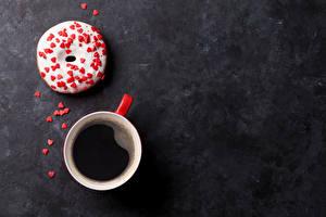 Fotos Kaffee Donut Süßware Tasse Herz Lebensmittel