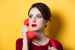 Image Colored background Brown haired Telephone Glance Girls