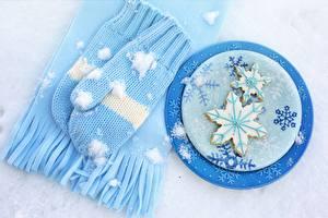 Fotos Kekse Fausthandschuhe Schal Schneeflocken