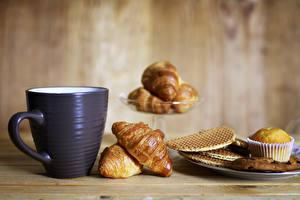 Fotos Croissant Kekse Keks Frühstück Tasse Lebensmittel