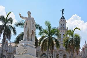 Picture Cuba Monuments Men Palm trees Havana, monument to Jose Marti