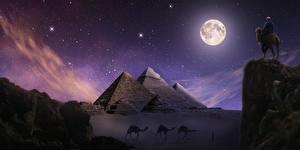Bilder Ägypten Wüste Altweltkamele Pyramide bauwerk Nacht Felsen Mond Giza Fantasy