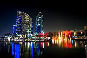 Bakgrunnsbilder De forente arabiske emirater Skyskraper Dubai Natt byen