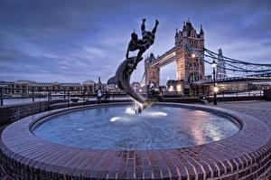 Fotos England Springbrunnen Delfine London Straßenlaterne Tower Bridge