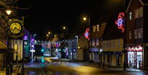 壁纸、、イングランド、建物、時計、ストリート、街灯、クリスマスライト、夜、Cottingham、