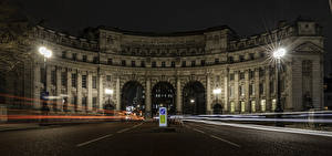 Picture England Building Roads London Arch Night time Street lights Admiralty Arch Cities