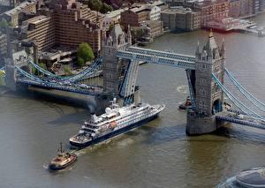 Fotos England Flusse Brücken Schiffe London Von oben Thames, Tower bridge Städte