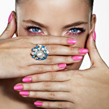 Photo Eyes Fingers Glance Makeup Hands Manicure Girls