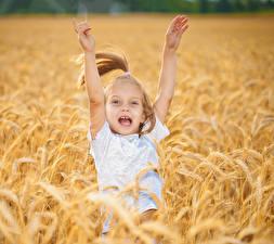 Photo Fields Little girls Happy Hands Children