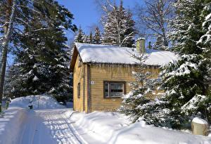 Photo Finland Winter Building Snow Heparo Kymenlaakso Cities