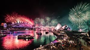 Bilder Feuerwerk Brücken Australien Nacht Sydney Bucht Städte