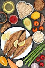 Wallpaper Fish - Food Vegetables Rice Tomatoes Lemons Avocado Plate Grain