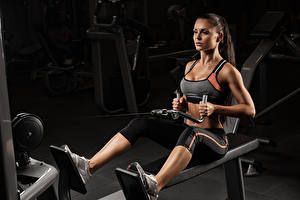 Wallpaper Fitness Brown haired Workout Legs young woman Sport