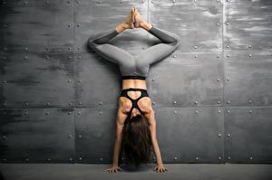 Hintergrundbilder Fitness Wand Braune Haare Trainieren Hand Bein Rücken junge frau Sport