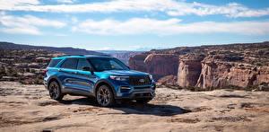 Bilder Ford SUV Hellblau Metallisch 2019 Explorer ST Autos