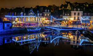 Pictures France Building Berth Evening Fairy lights Auray Cities