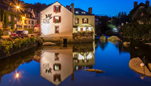 Pictures France Building Rivers Evening Street lights Pont Aven Cities