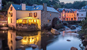 Picture France Houses Rivers Evening Stones Cafe Pont Aven Cities