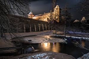 壁纸、、ドイツ、冬、城、夕、池、雪、塀、Castle Schnellenberg、都市