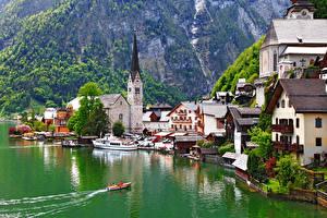 Bilder Hallstatt Österreich See Kirchengebäude Boot Bootssteg Gmunden County Städte