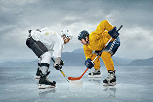 Wallpaper Hockey Men Ice rink Two Uniform Helmet athletic