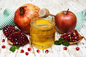 Wallpaper Honey Apples Pomegranate Wood planks Jar Grain Food