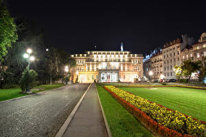 Photo Building Serbia Night Street lights Lawn National Assembly Belgrade Cities