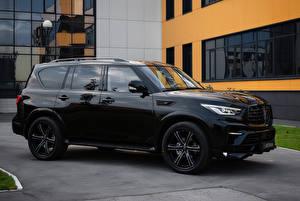 Desktop hintergrundbilder Infiniti Schwarz SUV Metallisch 2018-19 Larte Design Infiniti QX80 Missuro Autos