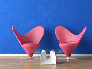 Images Interior Armchair Two Table Heart 3D Graphics
