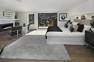 Wallpaper Interior Design Bedroom Bed Carpet Pillows