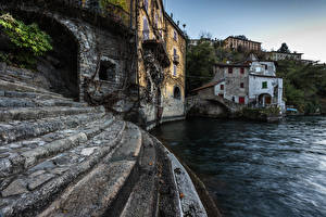 Pictures Italy Lake Building Staircase Nesso Cities