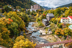 壁纸、、日本、建物、川、橋、秋、Jozankei Hokkaido、都市
