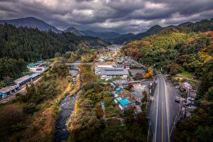 壁纸、、日本、建物、道、森林、秋、ハイダイナミックレンジ合成、Gunma、都市