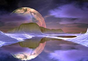 Bureaubladachtergronden Een meer Bergen Planeten Planeet oppervlak Reflectie 3D graphics