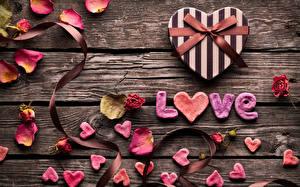 Bilder Liebe Rosen Valentinstag Bretter Kronblatt Herz Geschenke Schleife Englisch