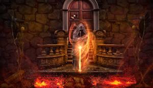 Fotos Magier Hexer Flamme Magie Gothic Fantasy Schwert Skelett Lava