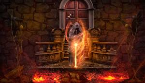 Pictures Magician Fire Sorcery Gothic Fantasy Swords Skeleton Lava Fantasy