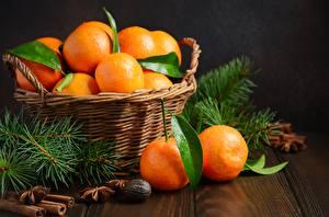 Wallpapers Mandarine Wicker basket Food