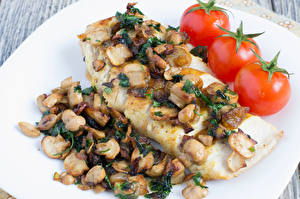Bilder Fleischwaren Pilze Tomate Lebensmittel