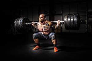 Pictures Men Bodybuilding Bald Tattoos Muscle Barbell Beard Sport