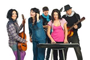 Photo Man Musical Instruments White background Guitar Smile Girls