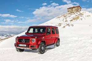 Hintergrundbilder Mercedes-Benz G-Modell Rot 2019 G 350 d AMG Line Worldwide