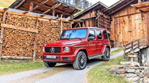 Fotos Mercedes-Benz G-Modell Rot 2019 G 350 d AMG Line Autos