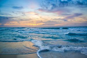 Bilder Mexiko Meer Küste Wasserwelle Sonnenaufgänge und Sonnenuntergänge Cancun
