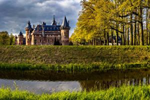 壁纸、、オランダ、城、池、秋、De Haar Castle、都市