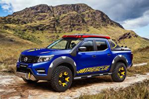 Hintergrundbilder Nissan Blau Pick-up 2018 Frontier Sentinel